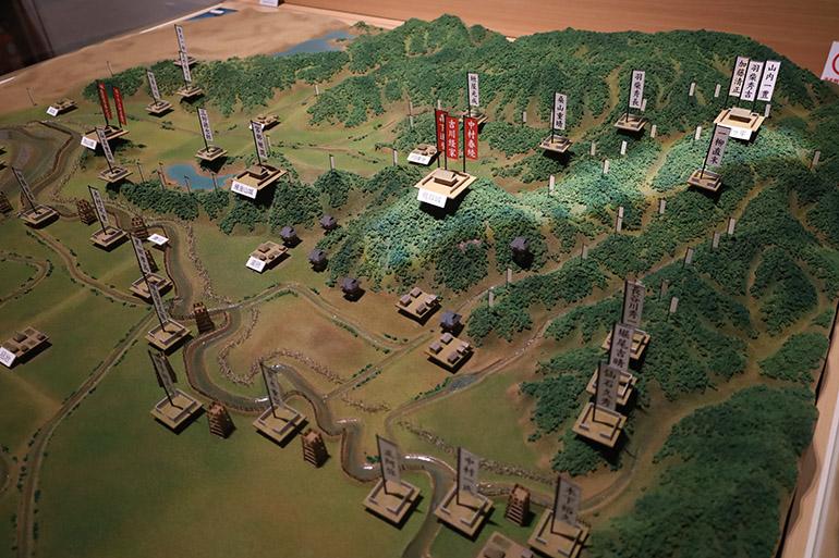 「鳥取市歴史博物館 やまびこ館」に展示されている布陣模型