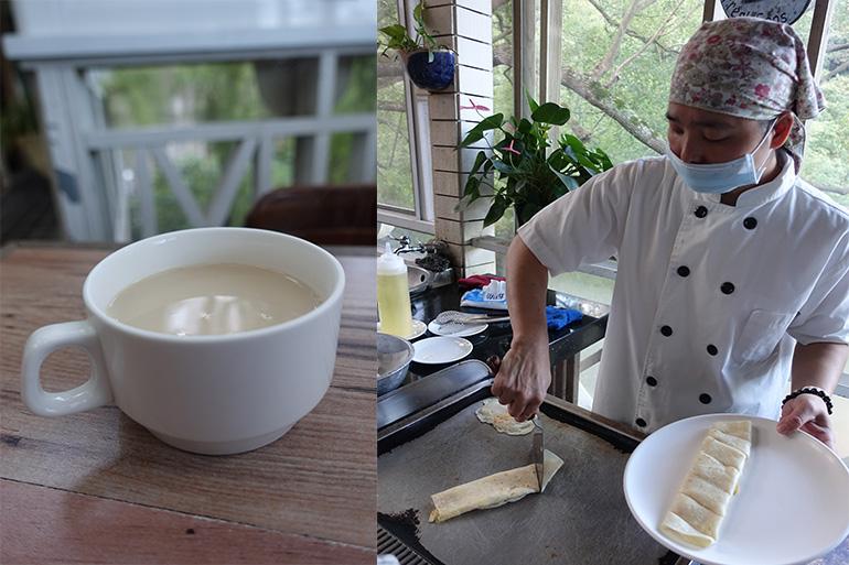 (左)毎朝、豆から作る豆乳のおいしさに感激(右)卵を包んで仕上げるもちもちのクレープ