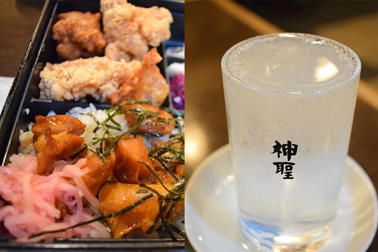 (左)ランチの看板メニュー・とりめし定食(右)ここでの定番、神聖の蔵出し原酒。フロア中央に設置されたタンクから注がれる
