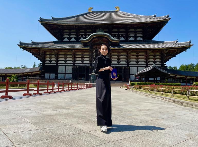 東大寺にて、デザインした御朱印と