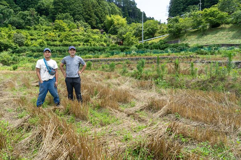 刈り取りを終えた小麦畑にて。笹川大輔さんと農業チーム・松本直也さん