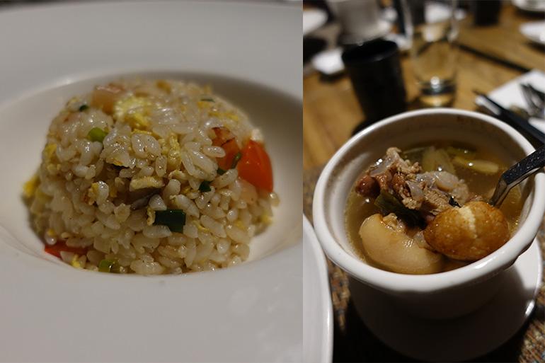 (左)一口サイズのチャーハンがうれしい。最後は薬膳スープでバランスを整える
