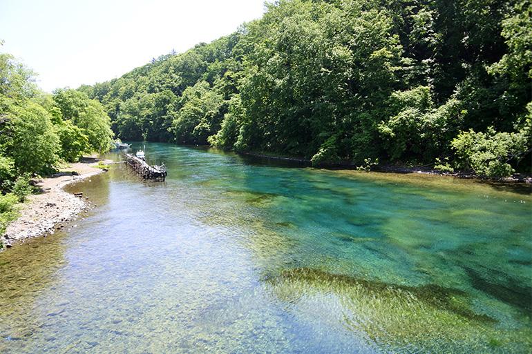支笏湖に流れ込む、青と緑が移ろう千歳川