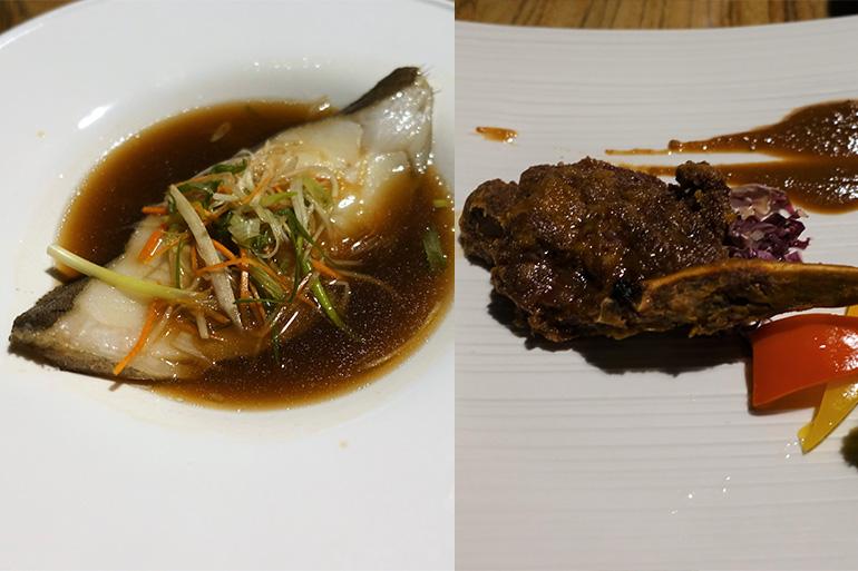 (左)台湾は魚料理もおいしい。 骨付きビーフリブはうまみたっぷり
