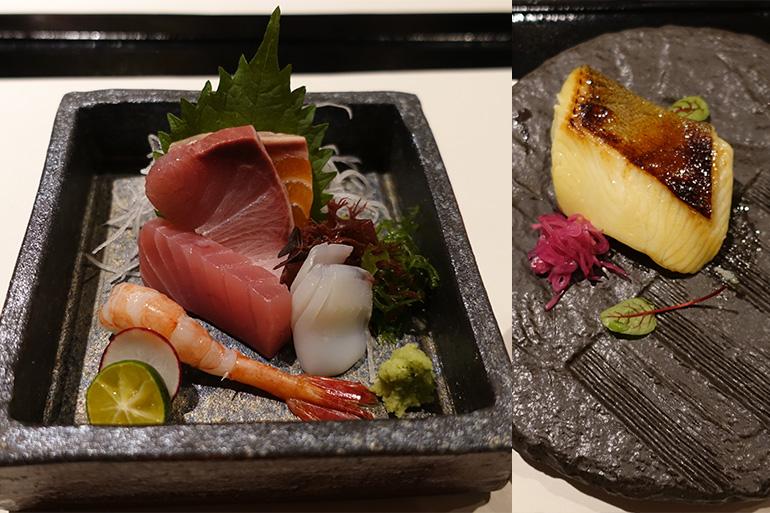 旬のお造り(左)とヒラメの西京焼き
