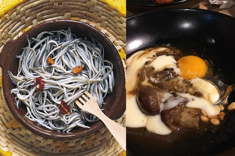 (左から)ウナギの稚魚のアヒージョ©スペイン政府観光局、サン・セバスティアンのきのこ料理(撮影・小林由季)