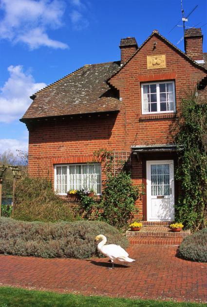 河畔に建つ赤レンガの家と白鳥。これもロイヤルスワンか?