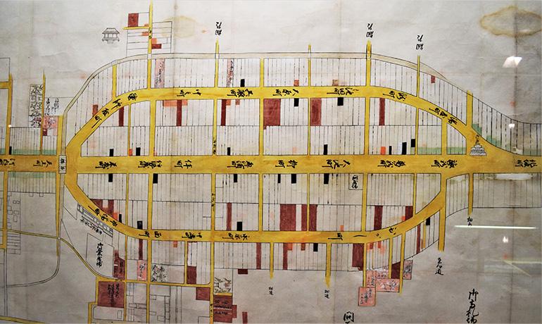 三筋の古地図。甲賀市水口歴史民俗資料館収蔵