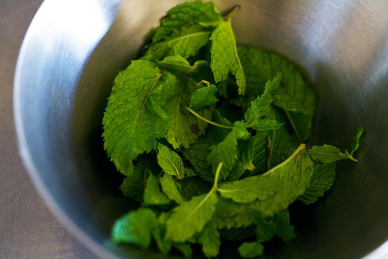ゼリーに使うのはスペアミント。香りも風味もいいので、ドライではなく、ぜひフレッシュなものを使ってください