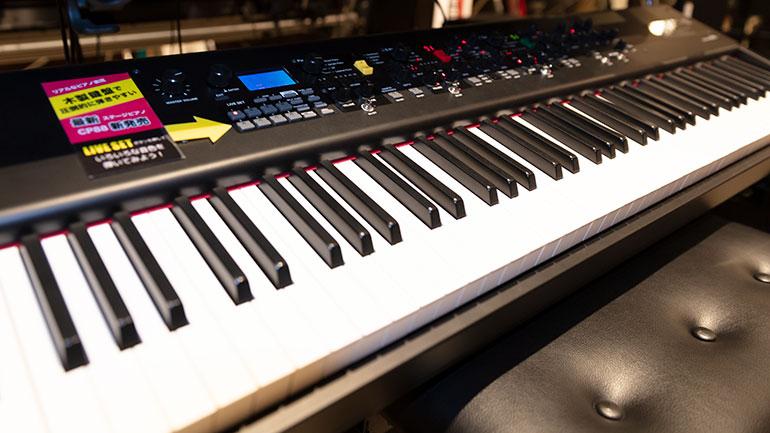 木製の鍵盤でピアノを弾く感触と、ピアノの他にもシンセサイザーの様々な音色が楽しめるCP88