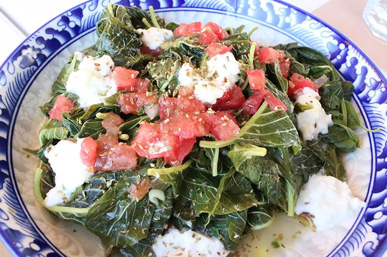 ゆでた青菜の料理