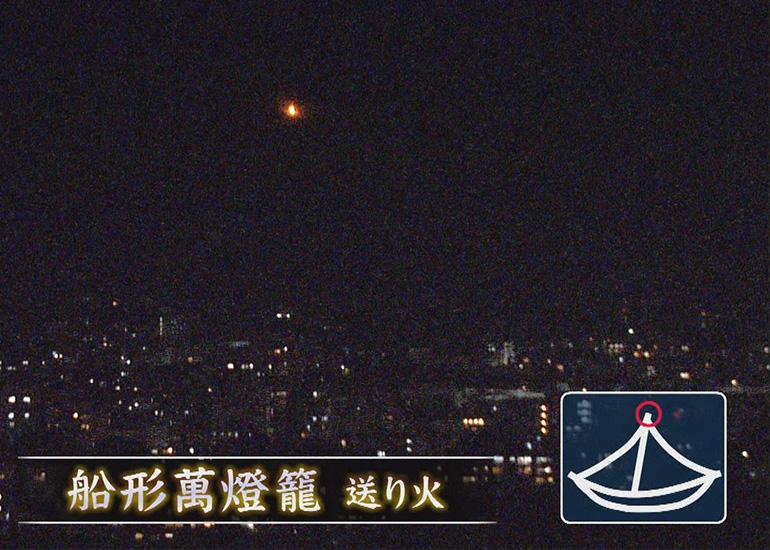 帆柱先端の1灯に点火した「船形万燈籠送り火」=KBS京都・BS11「生中継!京都五山送り火2021」から