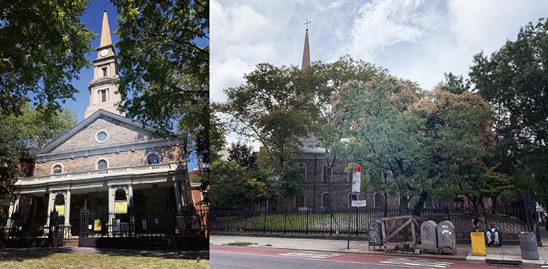 セントマークス教会の外観。正面(写真左) 2Aveから撮った教会。多くの緑に囲まれている 筆者撮影