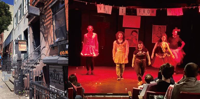 シアターのエントランス。1階がKraine Theater、2階がKGB Barが同じビルに入っている。 筆者撮影(写真左) シアターでの公演の様子Photo by Rob Neill, The Infinite Wrench - The New York Neo-Futurists(写真右)このThe New York Neo-Futuristsは9月17日に同シアターで対面の公演を再開する。美術運動、未来派に裏打ちされたコンセプトの元気で楽しい、インテリジェンスな舞台だ。