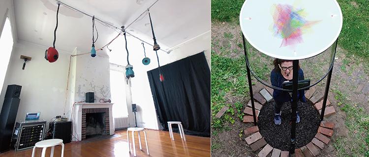 (写真左)Dafna Naphtaliさんの「AUDIO CHANDELIER: POLYÉLAIOS」マルチ・チャンネル・オーディオ・スピーカーは 鍜治屋/デザイナーの Ayala Naphtaliさんとのコラボレーション。スタイリッシュな作品だ。Photo courtesy by HARVEST WORKS (写真右)Valerie Hallier さんの「Scream Now with ceiling visualization」アーティスト曰く、この作品はコロナかの生活からインスピレーションを得た、初めての公共施設での叫ぶ場所。スペースの中で叫ぶと目の前のモニターに様々な波形が形を変える。共感しやすいコンセプトのアイデアと完成度が素晴らしい。 Photo by Valerie Hallier. Inspired by the French Medieval Photo courtesy by HARVEST WORKS