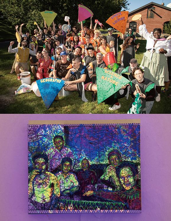 (写真上)GIでのSarah Dahlingerさんのコラボレーションアート「Trivial Pursuits Dinner Party」の様子。現代美術特有の堅苦しさがなく、少し自由な感じがこの施設の持ち味の気がする。(参加アーティストは以下のとうりSarah Dahlinger with Danny Crump, Will Owen, Li Ming Hu, Sally Twin MG, Jon Sims, Amir Badawi, Seth Timothy Larson, Jevijoe Vitug, Aliya Bonar and Viva Soudon.) (写真下)Jevijoe Vitugさんの絵Mother Tongue Karaoke。ネオン色に光っているので、おそらくブラックライトのカラオケをイメージしたのだろうか。細かくよくできている作品だ。 Photo courtesy of Flux Factory