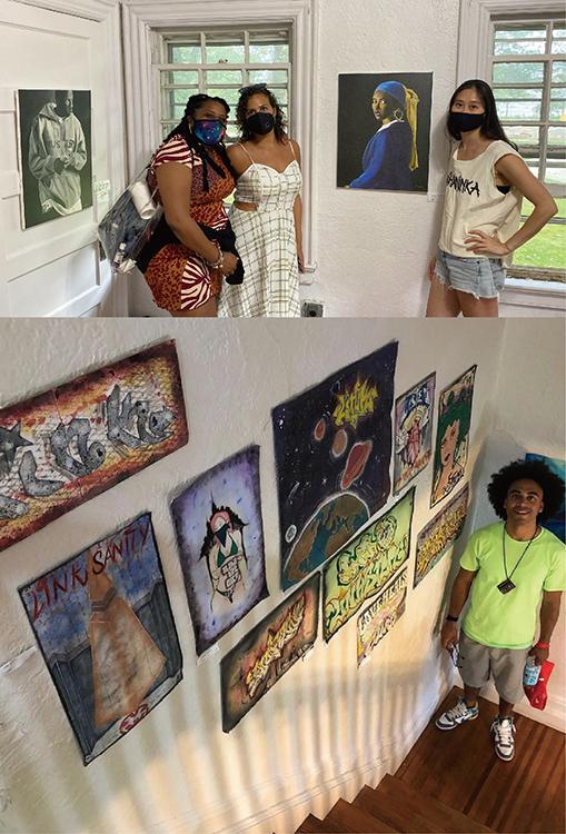 (写真上)この展覧会のキュリエーターでもあるJay Dardenさんの描いた「Girl with a Bamboo Earring」(写真中央) と来場者。この絵はイタリアの画家、フェルメールのオマージュだろう。 (写真下)Jairo Pastoressaさんの作品とご本人。作品は刑務所の中で描いたので、既存のキャンバスはなく、ベッドシーツや枕カバーなどを代用して描いたそうだ。クリエイティブな姿勢に頭がさがる。 Photo: Escaping Time