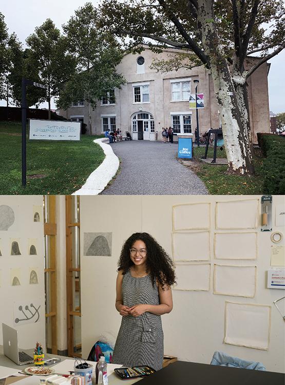 (写真上)LMCCの外観(筆者撮影) (写真下)LMCC内のJordan Jonesさんのアーティスト・スタジオのオープン・スタジオの様子 Photos by Ian Douglas, courtesy of Lower Manhattan Cultural Council