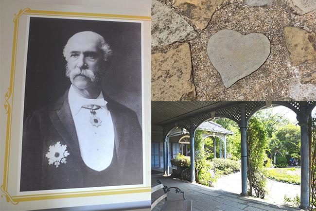 邸内ではグラバーや妻ツルの生涯を紹介。テラス前に広がる庭ではハート形の石があるので探してみよう