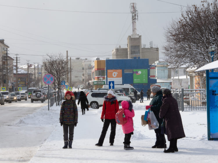 ホルムスクの中心街、ソビエツカヤ通り