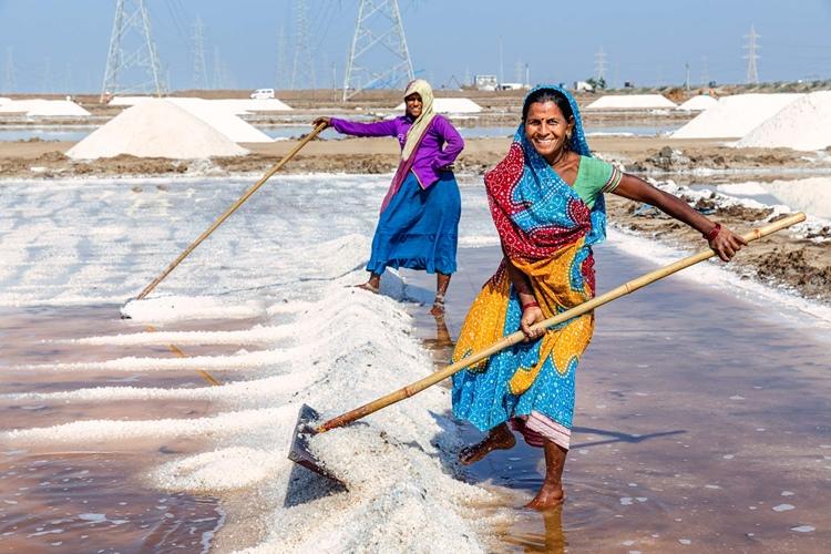 昔ながらの手作り。広大な塩田が広がるインド<8>
