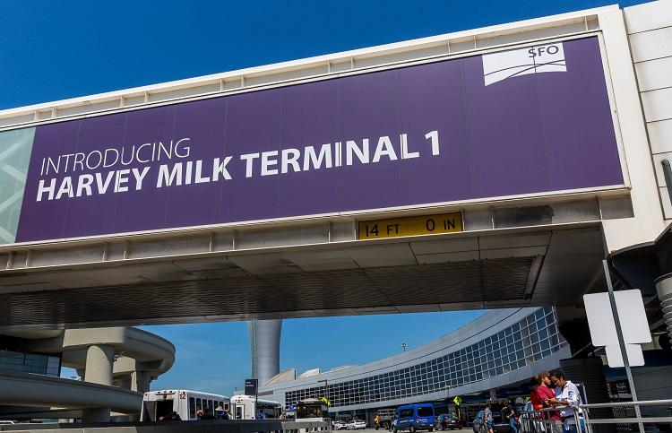 サンフランシスコ国際空港の「ハーヴェイ・ミルク・ターミナル1」(サンフランシスコ観光協会提供)