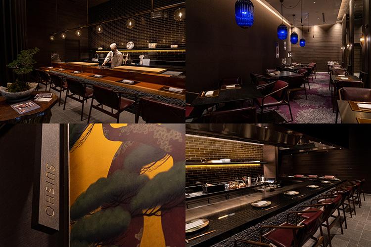 日本料理店「校倉(あぜくら)」では鉄板焼、寿司、会席を提供。個室もあります