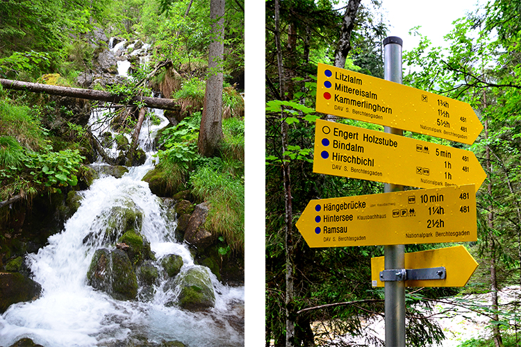 (左)滝を眺めてひとやすみ、(右)道しるべが、きちんと立っています