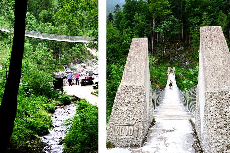 (左)つり橋が見えます、(右)近くで見ると……