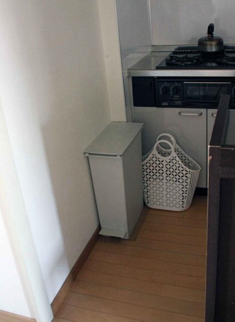 メッシュのバッグに不燃物を全部入れ、バッグごとゴミ捨て場に持って行き、その場で缶や瓶を分けて捨てている