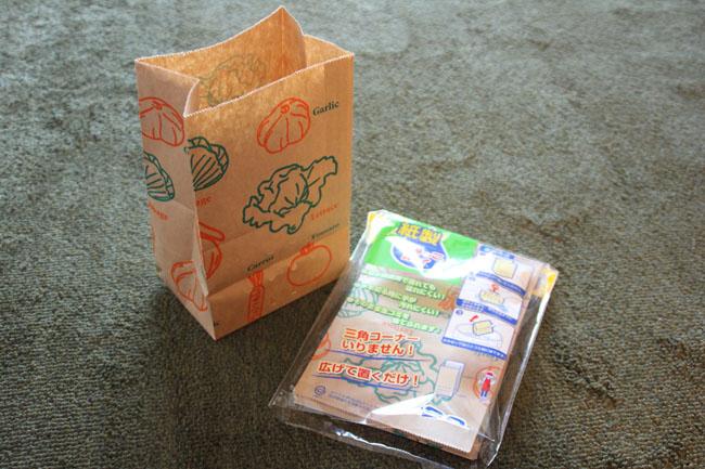 <切らしたら困るもの> 紙製ごみっこポイ(ネクスタ)。紙製の水切り袋。三角コーナーいらずの便利なアイデアグッズ