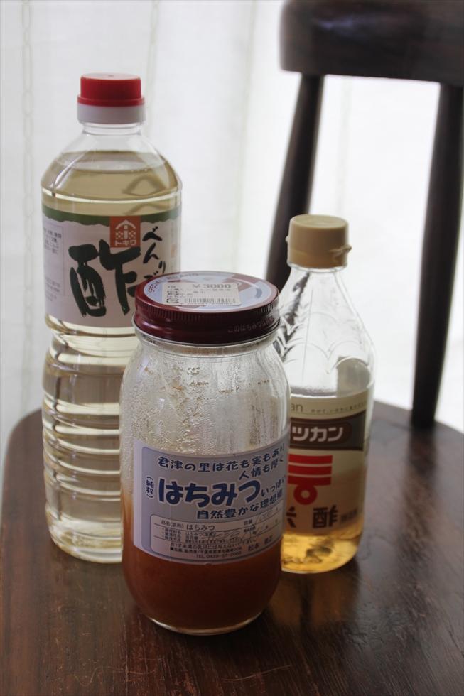 <切らしたらこまるもの>酢とはちみつ。酢の物が好き。甘酢でピクルスの作り置きをする。酢は焼きそばにもかける