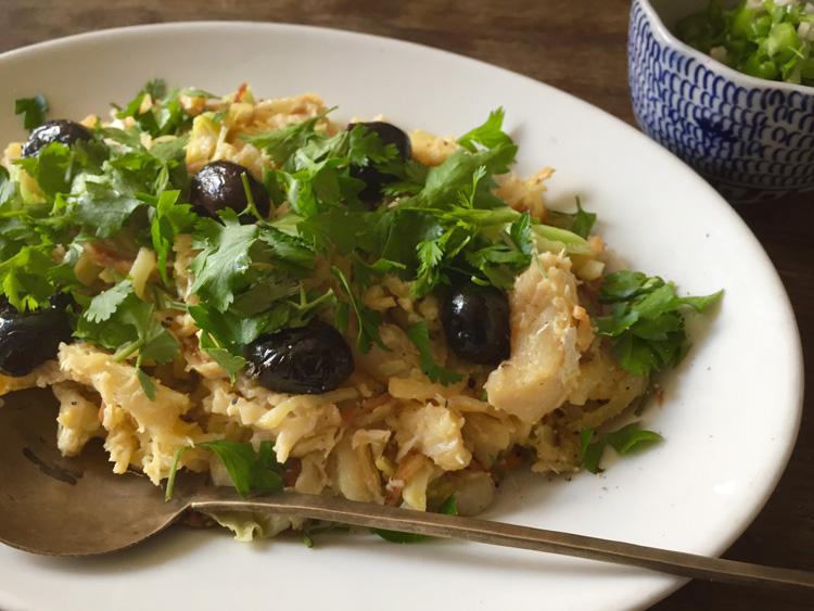 ポルトガルのバカリャウでライスグラタンとジャガイモ卵炒め/Don Antonia