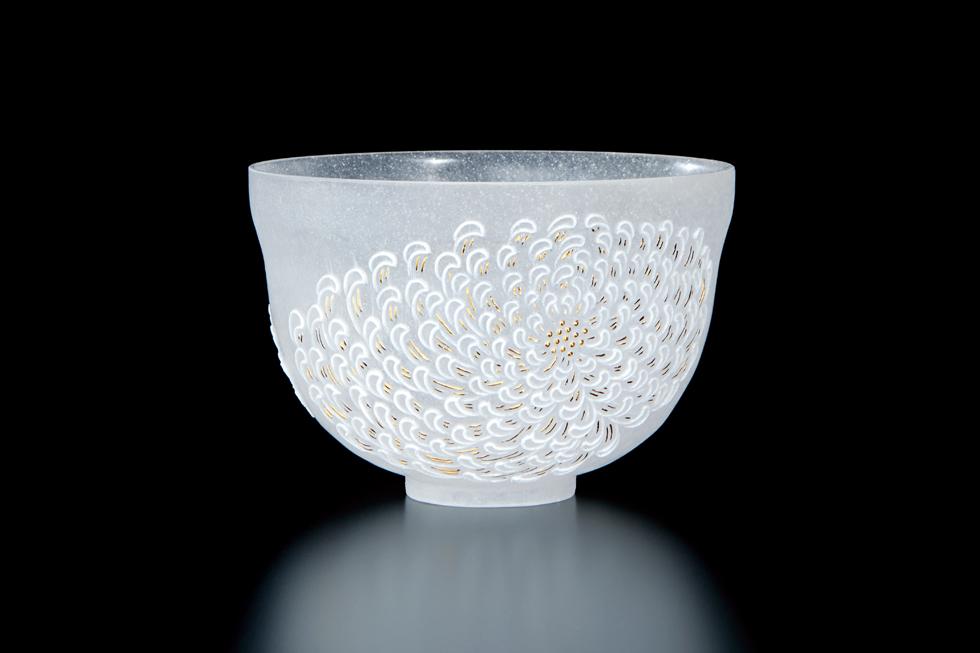 石田亘 《茶碗 白菊》 径12×8 cm