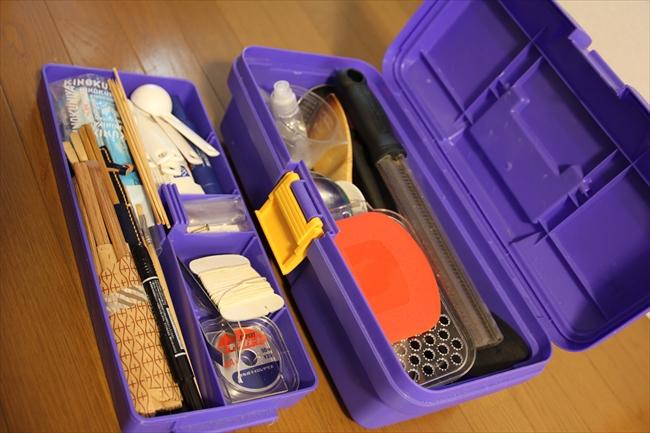 ケータリング、料理撮影の必需品の工具箱。たこ糸、串など仕分けしやすく重宝