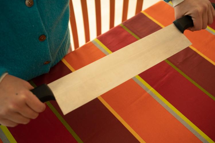フランスの業務用調理ツール街で買った、ブロックの大きなチーズを切るナイフ