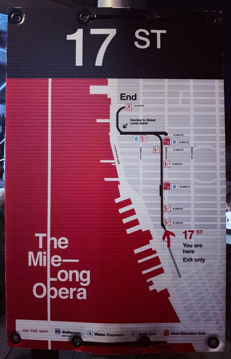 ザ・ロングマイル・オペラの地図。端からは端までハイラインを使用しているのがわかる