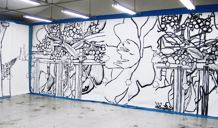 僕が制作した最も大きな絵画作品「Soundscape」(2004年制作)。サイズは3m×40mだが、アメリカでは珍しがられるほど大きな作品ではない Copyright by Chihiro ITO Photo by Yosuke Minowa