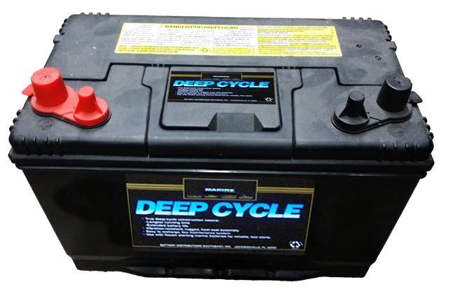 これが〝肝〟になるディープサイクルバッテリー。外観は普通の自動車用バッテリーと見分けがつかない