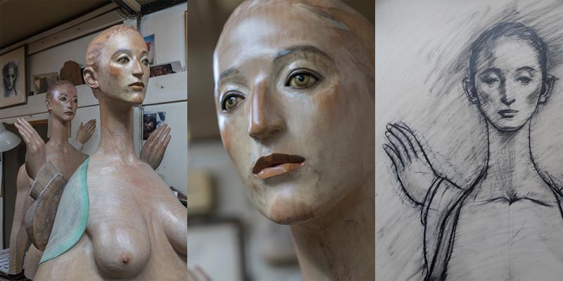 (左)手前の作品は「水に映る月蝕」、奥は「言葉をつかむ手」(中)「一番遠くにあって分からない自分自身」を見つめているという目(右)「水に映る月蝕」のためのドローイング