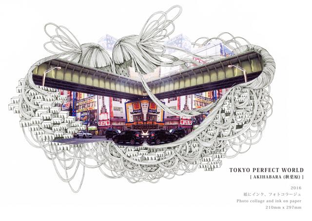 2016年の「TOKYO PERFECT WORLD 秋葉原」より。そのほかにも、青山や東京駅、浅草など、東京の有名都市を描いたドローイングを発表。