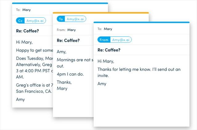 まるで人間とメールで会話しているかのように、自然にスケジュールを調整してくれる。