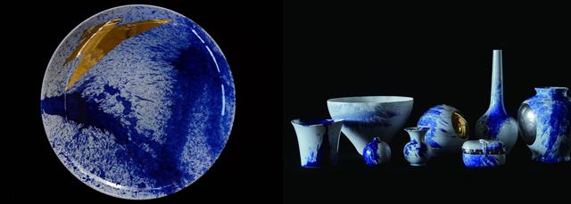 さまざまな窯元とコラボレーションして作った有田焼の限定品。スプラッシュペインティングが施されている(画像提供:SAMURAI)