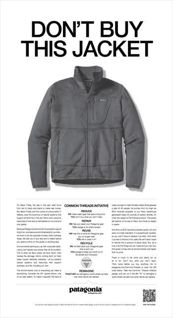 2011年のブラックフライデーにニューヨーク・タイムズに掲載された意見広告