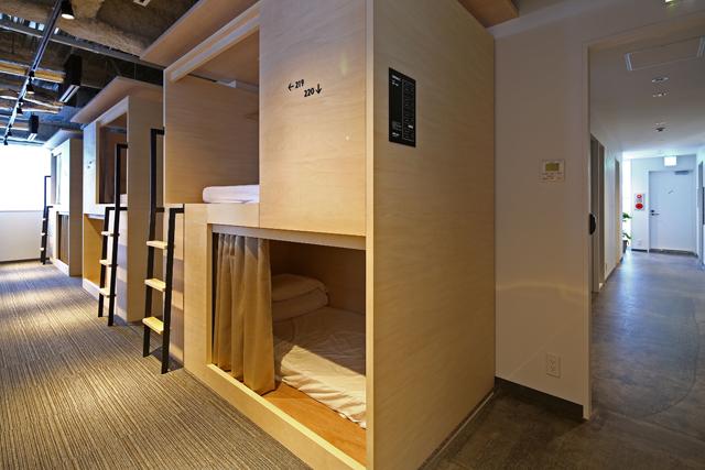 宿泊スペースにはドミトリーベッドのほか、個室など4タイプがある