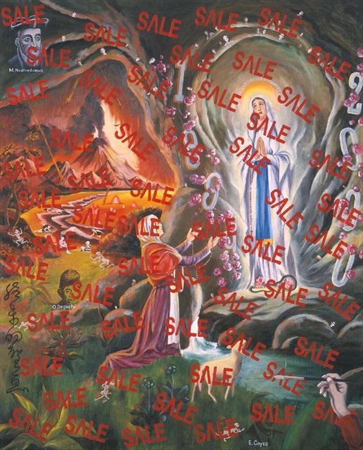 横尾忠則 《終末的聖画安売》 1998年 163.0×130.3cm 油彩、ラッカー、コラージュ・布 Villa Magical 2014 蔵
