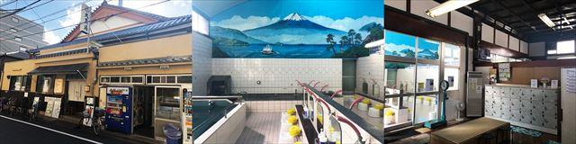 大黒湯は、四ツ目通りから一本入った住宅街にある(写真左)、定期的に描き変える銭湯絵。美しい富士山は、日本に2人しか残っていないと言われるベテラン銭湯絵師の中島盛夫さんが手がけた(中)、脱衣所には珍しい2枚の天井扇。開放感がある。大人は入浴料460円(右)