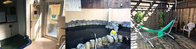 """上部に取り付けたストーブから温めるタイプの珍しい遠赤外線サウナ、利用料は別途200円(左)、温泉のミネラル成分を凝縮した「ルフロ」が入った大露天風呂。ルフロは鹿島アントラーズのクラブハウスなどでも使われているという(中)、露天やサウナで温まったら""""ととのい""""にウッドデッキへ行くのがおすすめ(右)"""