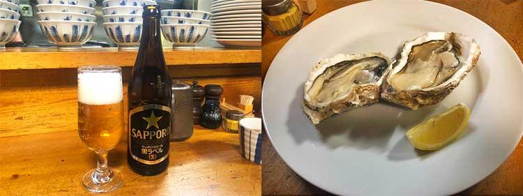 ビールと牡蠣フライ