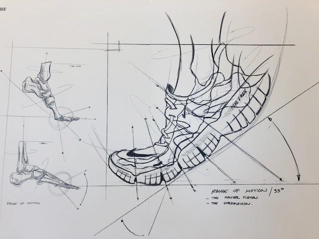 フリー RN5.0は従来モデルより高い屈曲性を実現。開発にあたって、こうしたスケッチが何枚も描かれた